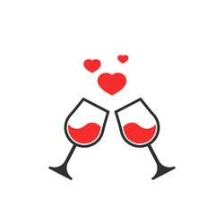 Two glasses toasting with floating hearts on a romantic date. Vector icon illustration for valentine's day, love, romance, dating, wedding, honeymoon. Cupid, drink, honeymoon, icon, toast, wine, 14, 1