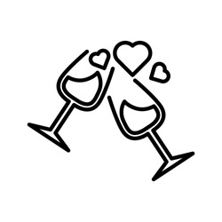 Two glasses toasting with floating hearts on a romantic date, Vector icon illustration for valentine's day, love, romance, dating, wedding, honeymoon vector icon in line art style on white background