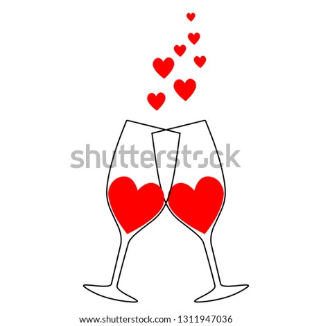 Two glasses with hearts holiday valentine's day valentine's day wedding, marriage, nuptials, bridal, nuptial, espousal logo sketch drawing black red icon