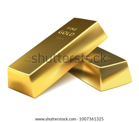 Two Gold bars on a white background. Banking business concept. Vector illustration