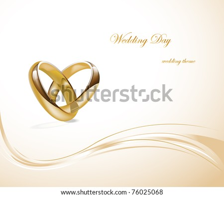 Two gold wedding rings design - stock vector