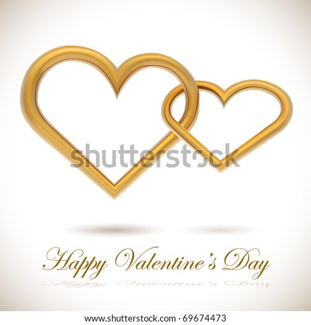 Two golden hearts linked together realistic vector illustration. Valentine's Day card.