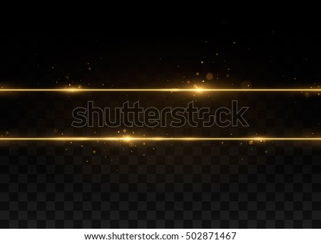 Two golden lines with light effects. Isolated on black transparent background. Vector illustration, eps 10.