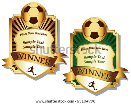two golden soccer emblems vector - stock vector