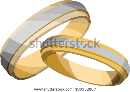 two golden wedding rings one large one small on a white background