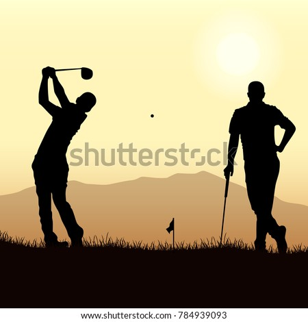 two golfers silhouette playing