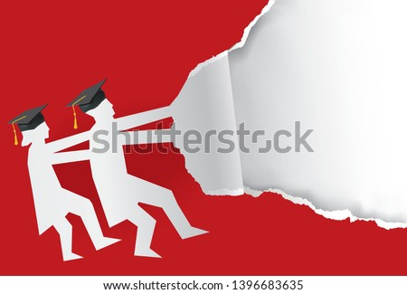 Two graduates torn red paper background.  Illustration of two students paper silhouette with mortarboard ripped paper. Template for announcement of graduations. Vector available.