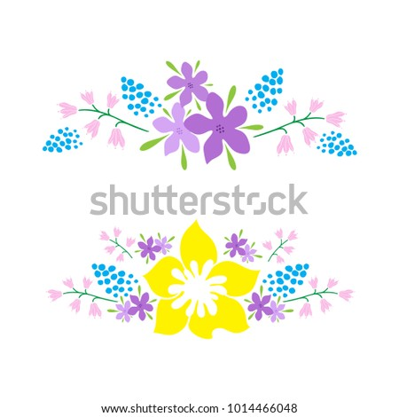 two graphic flower bouquets for