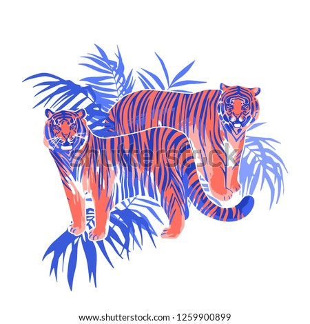 two graphic tigers standing