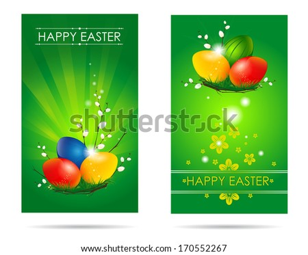 Two green cards devoted to the holiday of Easter with the image of colorful eggs