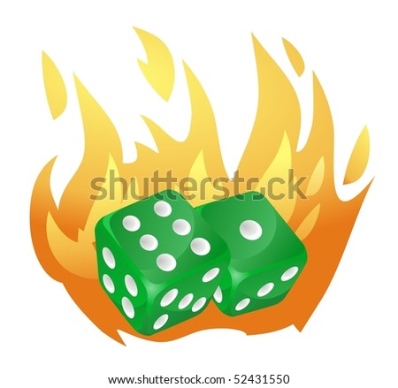 two green dice falls, enveloped in flames