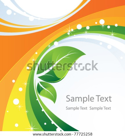 Two green leaves on an abstract background. Conceptual background.
