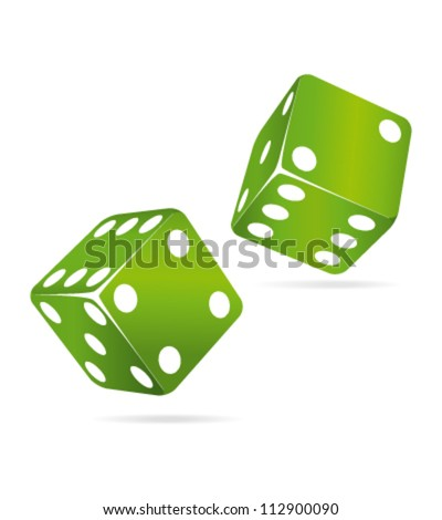 Two green rolling dices. Chance concept.