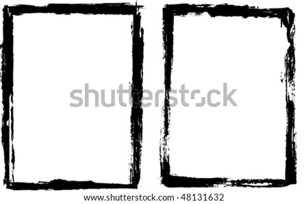 Two grungy black frame edges - stock vector
