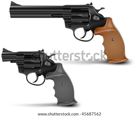 Two guns isolated on white background, vector illustration
