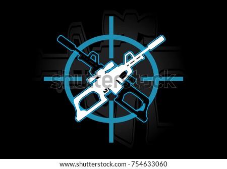 two guns logo sniper rifle for