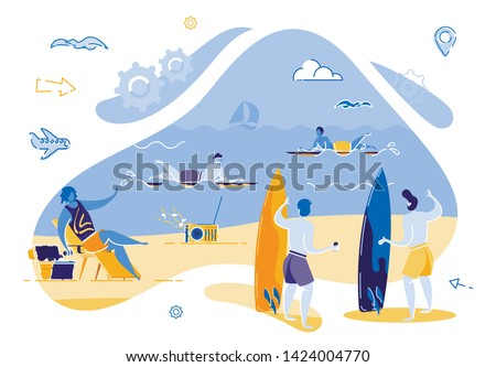 Two Guys are Standing on Beach Planning Surfing. Group Young Man are Relaxing on Ocean Coast. Riding Waves on Surfboard on Hot Summer Day. Guy Sitting on Lounger Gets Cool Drink from Box