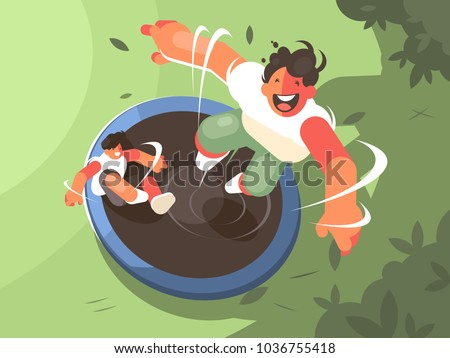 two guys jumping on trampoline