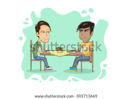 two guys on a table cartoon