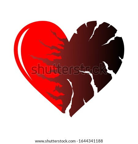 Two halfs of red cracked heart icon isolated on white background. Heart shape with cracks and ragged edges. Symbol of unhappy love, emotional experience or painful condition. EPS8 vector illustration.