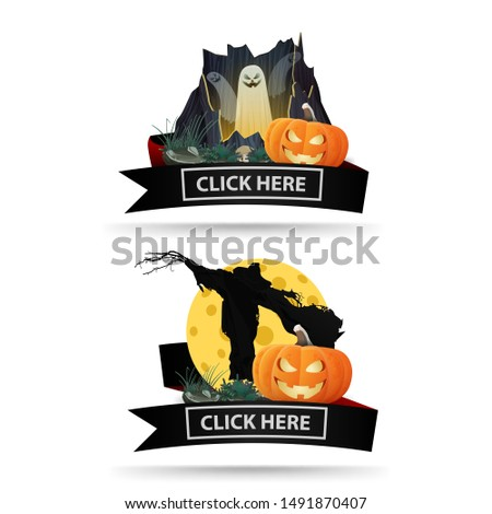 two halloween icons with black