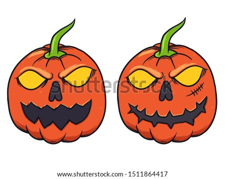 two halloween pumpkin head