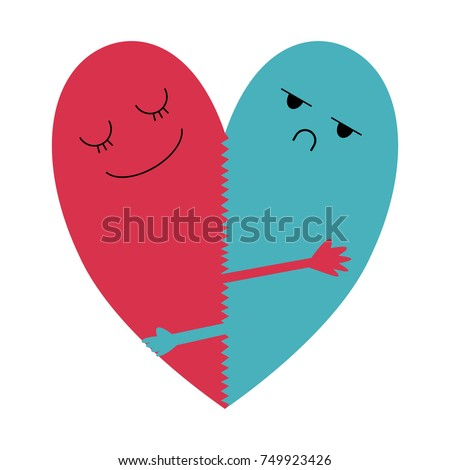 two halves of heart is cuddling each other as heart. one is happy pink and another one is unhappy blue. opposite and funny concept. vector illustration.