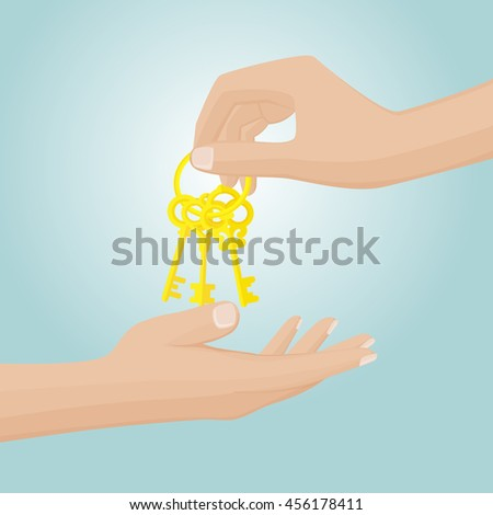two hand and gold keys