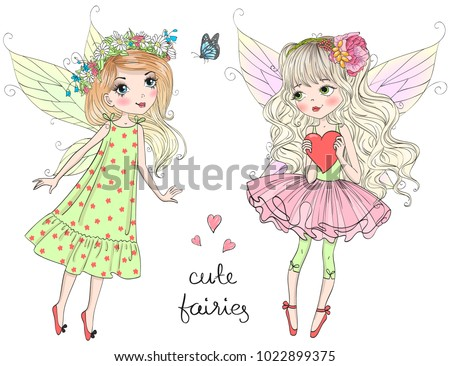 two hand drawn beautiful cute