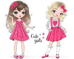 Two hand drawn beautiful, cute, little Princess girl. Vector illustration.