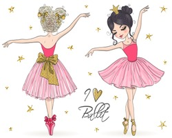 Two hand drawn beautiful, lovely, little ballerina girls. Vector illustration.