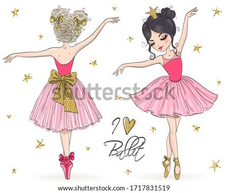 Two hand drawn beautiful, lovely, little ballerina girls. Vector illustration. Foto stock ©