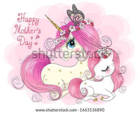 Two hand drawn cute mom and daughter unicorns girls. Happy Mothers Day. Vector illustration.