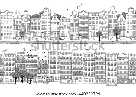 two hand drawn seamless city