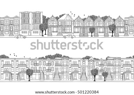 two hand drawn seamless city...