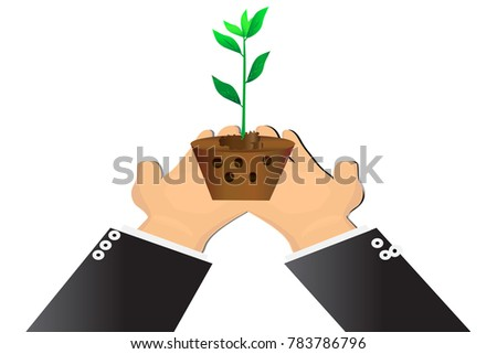 two hand holding little tree to