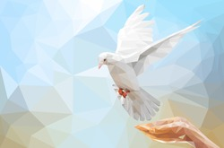 Two Hand holding White Dove flying on sky in low poly style and international day of peace