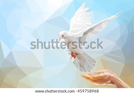 Two Hand holding White Dove flying on sky in low poly style and international day of peace 2017