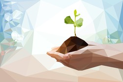 Two Hand holding young plant in low poly style