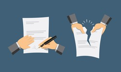 Two hand icons. Signing contract and contract termination. Simple flat vector illustration.