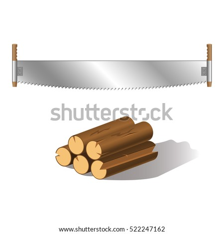 two hand saw with wooden handle