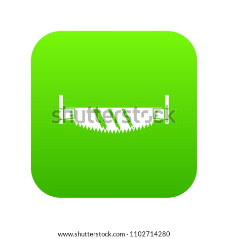 Two handled saw icon digital green for any design isolated on white vector illustration
