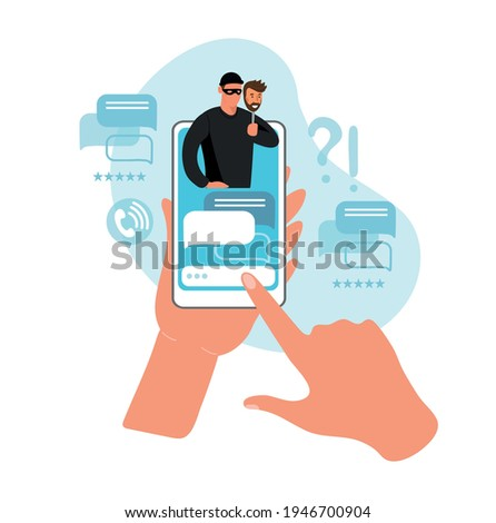 Two hands are holding a phone with a chat with a scam on the smartphone screen. Concept of cybercrime, fraud and blackmail, online crimes on the internet, social networks, dating apps. Vector flat Foto stock ©