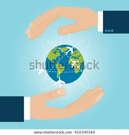 two hands are protecting earth