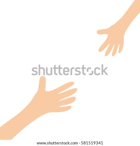 two hands arms reaching to each