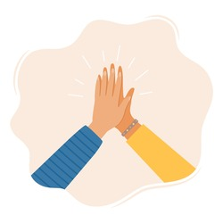Two hands clapping in high five gesture. Multicultural people putting hands together. Teamwork, friendship, unity, help, equality, support, partnership, community concept. Vector illustration