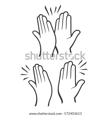 Two Hands Giving a High Five Icons Set. Vector