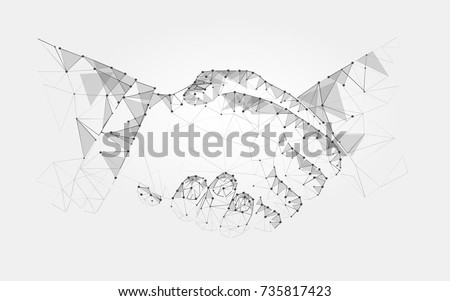 Two hands handshake polygonal low poly contract agreement monochrome on a light background. vector art