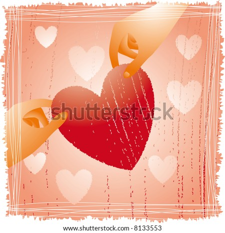 two hands holding a fragile heart on a frame - stock vector
