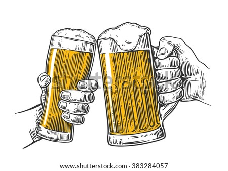 Two hands holding and clinking with beer glasses mug. Vintage vector engraving illustration for web, poster, invitation to party oktoberfest festival. Isolated on white background.